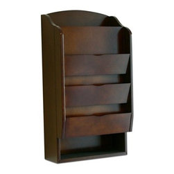 Proman - Proman Door Entry Organizer, Dark Walnut Finish - Door entry organizer with mail sorter and key holder compartment. Wood veneer, in dark walnut finish . Convenient hang on wall for entry way with adjustable shelves. Felt Lining 3-Tier slots for mail or miscellaneous papers. Key holder compartment Hideaway magnetic door with extra slot.