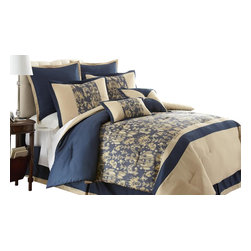 Amanda 8-piece Comforter Set King Blue/Beige - Bring adventure into your room with this Jacquard Comforter Set. The polyester jacquard gives a beautiful look and feel to the top of bed with a touch of sheen. The polyester filling gives a fluffiness to this comforter set while the bar tacking details give a more formal finished look.