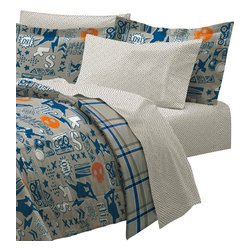 CHF Industries Inc - X-Factor Skateboarding 7-Piece Bedding Set, Blue Skater - Features:
