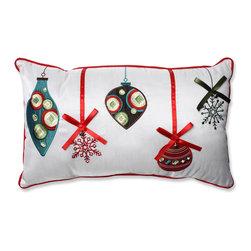 Pillow Perfect - Pillow Perfect Holiday Ornaments Red/Green Rectangular Throw Pillow - Pillow Perfect Holiday Ornaments Red/Green Rectangular Throw Pillow