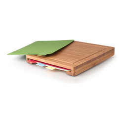 Berghoff - Berghoff Chopping Board Set - Getting chopped from that cooking show must cut like a knife. You'll be ready to take on your own competition with this set of cutting boards. The main one is made of natural, sustainable bamboo and it features a drip tray and a pocket with four slide-out boards — great for smaller prep or dividing foods into different categories for safety.