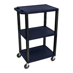 Luxor - H Wilson Presentation Cart - WT42ZE-B - H Wilson's WT Tuffy multi-purpose carts are made of high density polyethylene structural foam injection molded plastic shelves and legs that will not chip, warp, crack, rust or peel. Shelves and legs can be recycled.