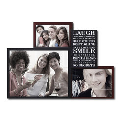 None - Adeco Decorative Brown and Black Wood Wall Hanging Photo Frame and Inspirational - This picture frame and inspirational plaque combo lets you combine words to live by with your favorite people to live with. Three photo frames (brown 4x6 and 5x7,and black 8x10) surround a black plaque with a variety of uplifting phrases in white text.