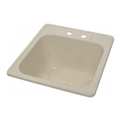 """Lyons - Lyons Deluxe DLT02 Acrylic Kitchen Sink - Lyons Industries Almond Self-rimming acrylic Laundry Sink with molded soap dish. This 20"""" X 22"""" sink has a functional design, with a 12"""" deep bowl and two faucet holes on 4"""" centers. This sturdy sink has durable easy to clean high gloss acrylic construction with a fiberglass reinforced insulation backer. This sink is quiet and provides a superior heat retention than other sink materials. Lyons sinks are proudly Made in America by experienced artisans supporting our economy."""