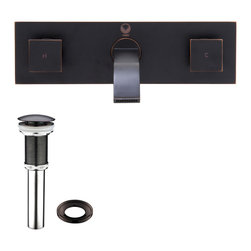 VIGO Industries - VIGO Titus Antique Rubbed Bronze Finish Dual Lever Wall Mount Faucet with Pop Up - The VIGO Titus dual lever wall mount faucet in Antique Rubbed Bronze finish is sure to bring a modern and assertive design to your home.