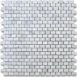 "Stone Center Corp - Carrara Marble Mini Brick Mosaic Tile 5/8x3/4 Honed - Carrara white marble 5/8"" x 3/4"" brick pieces mounted on 12"" x 12"" sturdy mesh tile sheet"