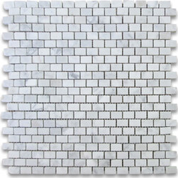 "Stone Center Corp - Carrara Marble Mini Brick Mosaic Tile 5/8x3/4 Honed - Carrara white marble 5/8"" x 3/4"" brick pieces mounted on 12"" x 12"" sturdy mesh tile sheet"