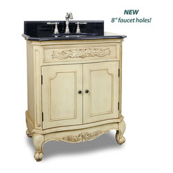 Hardware Resources - Clairemont Bath Elements Vanity  30-1/2 x 20-1/4 x 35-1/2 - This 30 1/2 inch wide MDF vanity features carved floral onlays and French scrolled legs for a traditional feel. The buttercream finish with antique crackle finish is created by hand  making each piece unique. A large cabinet provides ample storage.  This vanity has a 2CM black granite top preassembled with an H8809WH (15 x 12) bowl  cut for 8 faucet spread  and corresponding 2CM x 4 tall backsplash.  Overall Measurements: 30 1/2 x 20 1/4 x 35 1/2 (measurements taken from the widest point) Finish: Painted Buttercream Material: MDF Style: Traditional Coordinating Mirror(s): MIR061 Bowl: H8809WH