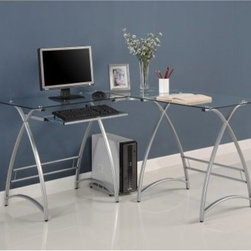 Walker Edison L-Shaped Silver Glass Top Computer Desk - Clear - Give your workspace an elegant modern style by adding the Walker Edison L-Shaped Silver Glass Top Computer Desk – Clear. Its powder-coated steel frame offers a graceful profile with contemporary curves and supports a clear tempered glass desktop. A corner and side extension give you ample room for papers and other desktop necessities. Other features include a slide-out keyboard tray and side tower rack. About Walker EdisonSpecializing in quality furniture at low prices Walker Edison Furniture Company manufactures a wide variety of furniture pieces for the North American marketplace. From bedroom furniture and desks to coffee tables dining tables and TV stands Walker Edison provides practical decor solutions for today's functional homes. With factories strategically located all over the world Walker Edison balances cost with low-priced raw materials and skilled artisans to deliver smart furniture pieces that fit every budget.
