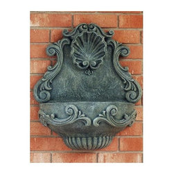 Ladybug - Tuscany Wall Fountain in Moss Finish - Includes pump and tubing. Weather resistant finish. Wall-mounted. 1-Year warranty. Made in USA. Made of pecan shell resin. 18 in. W x 12 in. D x 24 in. H (14 lbs.)The finishes are applied by hand, enhancing every detail, and resulting in the uniqueness of no two pieces being exactly alike. Each individually hand-crafted piece of Ladybug product is cast in a crushed marble or resin composition which has the ability to capture and reproduce the same definition and minute detail as the original. It is a substantial, non-porous material which does not absorb moisture, making it ideal for outdoor use, although it offers the strength and durability required to endure even extreme weather conditions.