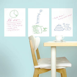 WallCandy Arts - WallCandy 9 x 12 in. White Board Decal - DE01 - Shop for Wall Decorations from Hayneedle.com! Whether you're feeling creative or merely forgetful the WallCandy 9 x 12 in. White Board Decal is a great place to jot down a few ideas. Display deadlines to-dos or do some fun doodling! This easy to peel and stick collection of 3 white boards can be reused and rearranged however you like without ever harming any wall surface. Put them in your kitchen your office or your bedroom these boards look great anywhere! Measures 9W x 12H inches pens sold separately. Scribble sketch and erase - it's that easy.About WallCandyKids' imaginations and favorites change as fast as their growing bodies so founder Allison Krongard founded WallCandy in 2002 to manufacture and distribute repositionable and reusable wall stickers and wall art. If your child loves cowboys one year but superheroes the next you won't have to repaint! WallCandy is the hassle-free way to always keep your children's room decor up to date with their current obsession. Since its creation WallCandy has expanded into the playroom teen room and adult room market. With WallCandy you can effortlessly enhance your surroundings with easy to peel easy to stick decals to create an atmosphere unlike any other.