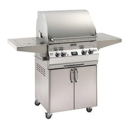 """Fire Magic - Fire Magic Aurora A530s2E1P62 Stand Alone LP Grill w/ Rotisserie - A530 Stand Alone Propane Grill with Single Side Burner, Rotisserie, and Backburner  -Cast stainless steel """"E"""" burners -  guaranteed for life  -16-gauge stainless steel flavor grids  -Built-in Interior Lights  -Integral and removable ovenwarming rack for light cooking or warming food  -Advanced Hot Surface Ignition  -Meat probewith digital thermometer  -Built-in storage rackfor rotisserie spit rod  -Extensive lineof complementary accessories  -60,000 BTUs primary cooking area  -16,000 BTUs backburner  -15,000 BTUs single side burner    -Cooking Surface: 528 square inches(24"""" x 22"""")  Overall Width with Shelves Up: 55 3/4""""  ;Overall Depth: 29 3/4""""  ;Overall Height: 52""""    15 year warranty on backburners  Cast stainless steel burners, stainless steel housing and stainless steelcooking grids are warranted for as long as you own your grill"""