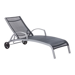 Zuo Modern Contemporary, Inc. - Casam Chaise Lounge Black & Silver - Sleek and modern, the Casam Lounge Chair has convenient wheels for following the sun. The frame is made of aluminum and the cover is a durable polyester mix that withstands UV rays and water. Comes in white or black and silver.