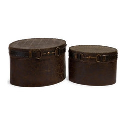 """Silver Nest - Saddle Boxes- Set of 2- 15.25""""w - Charming western style set of 2 decorative boxes featuring an equestrian inspired buckle detail."""