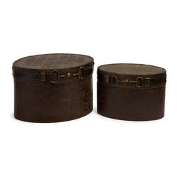 "Silver Nest - Saddle Boxes- Set of 2- 15.25""w - Charming western style set of 2 decorative boxes featuring an equestrian inspired buckle detail."