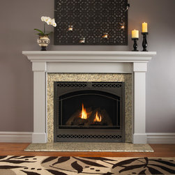 Heat & Glo - Traditional Style - Direct Vent Fireplaces - SL-950TR shown with kenwood mantel, new venetian gold granite and chateau deluxe front in graphite