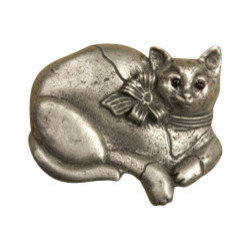 Anne at Home Hardware - Calico Cat Knob, Pewter w/ White Wash - Made in the USA - Anne at Home customized cabinet hardware enables even the most discriminating homeowner to achieve the look of their dreams.  Because Anne at Home cabinet hardware is designed to meet your preferences, it may take up to 3-4 weeks to arrive at your door. But don't let that stop you - having customized Anne at Home cabinet knobs and pulls are well worth the wait!- Drill Centers - 3  - Available in many finishes.