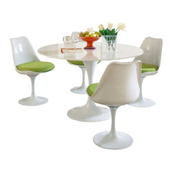 Modway - Lippa 5 Piece Dining Set in Green - This Lippa Dining table and chair set is the perfect solution to your dining seating needs! Perfect when entertaining or for everyday relaxation. Table has a lacquered cast aluminum base. Chair has a swivel seat with a padded cushion upholstered in several fabric colors. Whites are reinforced bonded finishes that maintain their gloss through years of use. Both the base and top are treated with a clear protective finish to resist scratches, stains and scuffs.
