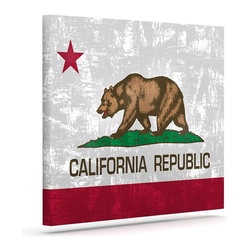 """Kess InHouse - Bruce Stanfield """"California Flag"""" Gray Red Wrapped Art Canvas (8"""" x 10"""") - Bring your outdoor patio to life with this artistic outdoor canvas wrap featuring gorgeous artwork by KESS InHouse. These canvases are not only easy to hang and remove but also are the perfect addition to your patio collection. These canvases are stretched around a wooden frame and are built to withstand the elements and still look artistically fabulous. Decorating your patio and walls with these prints will add the splash of art and color that is needed to bring your patio collection together! With so many size options and artwork to choose from, there is no way to go wrong with these KESS Canvas Wraps!"""