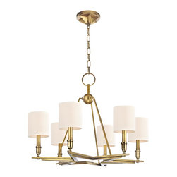 Hudson Valley - 6 Light ChandelierBethesda Collection - While Bethesda's roots are rustic, its modern poise calls to current tastes. At the frontier of bold design, we brand Bethesda's six-point star base with classic American inspiration. Hand-worked finishes and light, eco-paper shades soften the look for