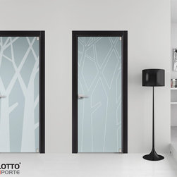 """CONTEMPORARY INTERIOR DOORS BOULEVARD IN SAN DIEGOEGOLTIMORIN SAN DIEGOEGO - The new """"Boulevard"""" door collection confirms the collaboration between the company Bertolotto Porte and the well-known architect Gianni Arnaudo. These are models inspired by nature-related themes and which provide a unique style for room furnishing. The concept of the collection challenges such parameters that would usually determine a door's value as well as its components. Thus """"rigid symmetry"""", in the words of the designer himself, is abandoned. The strict concept of a door is revolutionized: """"the value of the material is destroyed, which is deliberately made of true MDF, despite the hardwood or perfect coating."""" There isn't a real and singular frame, as it is rather coplanar to the door itself. The design is in fact extended over the entire surface of the door and the sense of continuity recreates a sequence of stylized trees."""