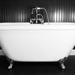 None - Spa Collection 67-inch Double-slipper Clawfoot Tub and Faucet Pack - This 67-inch double-ended style tub includes with chrome fittings including Edwardian faucet, drain and clawfeet. This elegant tub comes with a CoreAcryl durable construction.