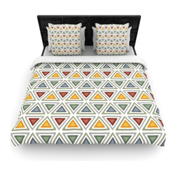 "Kess InHouse - Julia Grifol ""Ikat Triangles"" Multicolor Cotton Duvet Cover (Twin, 68"" x 88"") - Rest in comfort among this artistically inclined cotton blend duvet cover. This duvet cover is as light as a feather! You will be sure to be the envy of all of your guests with this aesthetically pleasing duvet. We highly recommend washing this as many times as you like as this material will not fade or lose comfort. Cotton blended, this duvet cover is not only beautiful and artistic but can be used year round with a duvet insert! Add our cotton shams to make your bed complete and looking stylish and artistic!"