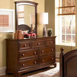 Lea Industries - Lea Elite Covington 7 Drawer Dresser w/ Mirror in Warm Cherry - The Covington Collection by Lea is a timeless collection that is perfect for your child's room. This traditional youth collection is characterized by weighty drawer fronts, casual hardware, finessed lines, and a classic Cherry color finish. The Covington Collection is crafted from hand selected cherry veneers, solid hardwood and wood products. Many storage options are available with the Covington Collection that makes it a great fit for any space. The Covington Collection includes a panel bed, bunk bed, unique bunk bed bookcase, underbed storage options, dresser, nightstand and desk. With traditional styling and a casual finish the Covington Collection is a great fit for boys and girls of all ages! With roots that stretch all the way back to 1869, Lea Industries has been adding its signature style and design to homes around the United States for more than a century. Children's furniture makes up the cornerstone of this topnotch manufacturer's lineup, and Lea has always managed to produce functional, modern - yet sophisticated - furniture for children. Furniture that bears the Lea name is always high quality, versatile and attractive. - 145-271-030.  Product features: Belongs to Covington Collection; Dresser; Traditional Styling; 7 Drawers; Nickel Insert Knob Hardware; Drawers Feature Full Extension Metal Drawer Guides with Steel Ball Bearings; Sturdy Design with Thick Tops and Drawer Fronts; Many Options for Sleep, Study and Storage; Arched Mirror Shape; Cherry veneers and solid hardwood; Warm Cherry Finish. Product includes: Dresser (1); Mirror (1). 7 Drawer Dresser w/ Mirror in Warm Cherry belongs to Covington Collection by Lea.