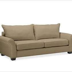 """PB Comfort Roll UpholsteredGrand Sofa Knife-EdgeBrushed CanvasSageUpholsteredDow - Built by our own master upholsterers in the heart of North Carolina, our PB Comfort Upholstered Grand Roll-arm Sofa is designed for unparalleled comfort with deep seats and three layers of padding. 93.5"""" w x 42"""" d x 39"""" h {{link path='pages/popups/PB-FG-Comfort-Roll-Arm-4.html' class='popup' width='720' height='800'}}View the dimension diagram for more information{{/link}}. {{link path='pages/popups/PB-FG-Comfort-Roll-Arm-6.html' class='popup' width='720' height='800'}}The fit & measuring guide should be read prior to placing your order{{/link}}. Choose polyester wrapped cushions for a tailored and neat look, or down-blend for a casual and relaxed look. Choice of knife-edged or box-style back cushions. Proudly made in America, {{link path='/stylehouse/videos/videos/pbq_v36_rel.html?cm_sp=Video_PIP-_-PBQUALITY-_-SUTTER_STREET' class='popup' width='950' height='300'}}view video{{/link}}. For shipping and return information, click on the shipping tab. When making your selection, see the Quick Ship and Special Order fabrics below. {{link path='pages/popups/PB-FG-Comfort-Roll-Arm-7.html' class='popup' width='720' height='800'}} Additional fabrics not shown below can be seen here{{/link}}. Please call 1.888.779.5176 to place your order for these additional fabrics."""