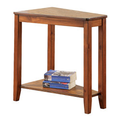 Steve Silver - Joel Chairside End Table Oak - Although small, its unique pyramid angle will make this the most versatile end table in your living room. Make room for the Joel chairside end table in your house. This unique table is available in a cherry or oak finish.