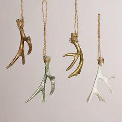Deer Antler Ornaments, Set of 4 -