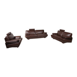 American Eagle Furniture - 7380 Brown Bonded Leather Three Piece Sofa Set - The 7380 sofa set is a great addition for any living room looking to add a touch of today's modern design. This sofa set comes upholstered in a stunning brown bonded leather on the front where your body touches. Carefully chosen match material is used on the back and sides where contact is minimal. High density foam is placed within each piece for added comfort. The sofa set shown includes a sofa, loveseat, and chair only. The coffee table shown is NOT included.