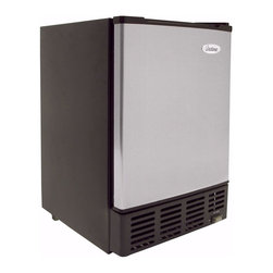 Vinotemp - Under-Counter Ice Maker - Made from stainless steel. Black color. Includes ice storage bin and plastic scoop. 15 in. W x 18 in. D x 25 in. H (52.5 lbs.). Made in USA. Lead time: 3 to 5 days. Self-contained ice maker. Produces and stores ice. Automatic overfill prevention. Volume: 28 L. Provide large and steady flow. Convenient and easy access to ice with carefree operation. Produces ice upto 12 lbs. per day. Warranty. Winmate Cooling Installation Instructions