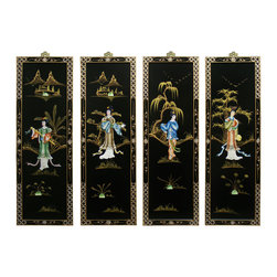 China Furniture and Arts - Soap Stone Maidens Design Wall Plaque - This hand painted panorama of a Chinese landscape is rendered in a four-panel stretch. It features soap stone maiden figures that are striking against the sheer black background and gold accents. The edge of each panel is carefully hand-painted with floral design patterns. Mounting hardware is included.