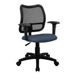 Flash Furniture - Ergonomic Contoured Mesh Back Arm Chair - Height adjustable arms. 3 in. thick fabric upholstered seat. Pneumatic seat height adjustment. Heavy duty nylon base. Heavy duty dual wheel casters. Warranty: 2 year limited. Assembly required. Back: 17.25 in. W x 17.5 in. H. Seat: 18 in. W x 17.25 in. D. Seat Height: 17.5 - 21.5 in.. Arm Height from Seat: 7 - 9.75 in.. Overall: 22 in. W x 22 in. D x 34 - 38 in. H (30 lbs.)