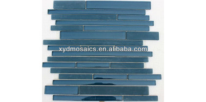 Blue Glossy Glass Mosaic Tile - Buy Glass Mosaics Tiles,Glass Mosaic Tile,Glossy