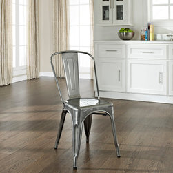 """Crosley Furniture - Amelia Metal Cafe Chair in Galvanized Finish - Includes (2) Chairs. Sturdy Steel Construction. Easy To Assemble. UV Resistant. Stackable. . Galvanized finish is hand-prepared, and will rust over time for an authentic vintage appearance.. 17 in. W x 21 in. D x 34 in. HOriginally made famous in the quaint bistros of France, these midcentury replicas of original caf̩ seating will offer a dose of nostalgia combined with careful consideration for your wallet.  This inspired revival evokes a sense of a true vintage find. The Amelia collection is available in a variety of colors, including our unique galvanized finish. This raw steel look is hand prepared to enhance the inherent tones of the metal. Designed to acquire an aged patina, the galvanized finish will naturally rust over time, giving it a unique industrial """"relic"""" look."""