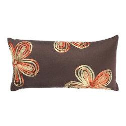 """Brown Red Flowers 11"""" x 21"""" Pillow  Set of 2 - *11"""" x 21"""" Pillow with Hidden Zipper"""