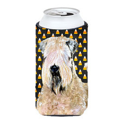 Caroline's Treasures - Wheaten Terrier Soft Coated Halloween Portrait Tall Boy Koozie Hugger - Wheaten Terrier Soft Coated Candy Corn Halloween Portrait Tall Boy Koozie Hugger Fits 22 oz. to 24 oz. cans or pint bottles. Great collapsible koozie for Energy Drinks or large Iced Tea beverages. Great to keep track of your beverage and add a bit of flair to a gathering. Match with one of the insulated coolers or coasters for a nice gift pack. Wash the hugger in your dishwasher or clothes washer. Design will not come off.