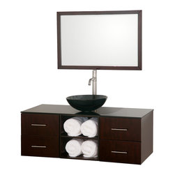 Wyndham Collection - Abba Vanity in Espresso w/ Smoke Glass Top w/ Smoke Glass Sink - The beautiful Abba bathroom vanity set showcases versatility with an open storage area for towels, baskets, and other toiletries, four drawers for other accessories, and a mirror that hangs horizontally or vertically to best suit your needs. Customize it with your choice of countertop and sink.