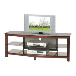 """ACMACM02069A - Zephyr Collection Cherry Finish Wood and Glass TV Stand Entertainment Center - Zephyr collection cherry finish wood and glass TV stand entertainment center unit with storage shelves. Features a cherry finish wood and glass shelve and top with open shelves . Measures 58"""" x 20"""" x 21""""H. Some assembly required."""