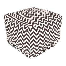 Majestic Home - Outdoor Chocolate Chevron Large Ottoman - Add a little character to your living room or patio with the Majestic Home Goods Large Ottoman. This Ottoman is the perfect accessory to add comfort and style to any room while functioning as a decorative foot stool, pouf, or coffee table. Woven from outdoor treated polyester, these ottomans have up to 1000 hours of U.V. protection and are able to withstand all of natures elements. The beanbag inserts are eco-friendly by using up to 50% recycled polystyrene beads, and the removable zippered slipcovers are conveniently machine-washable.
