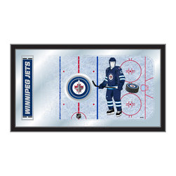 "Holland Bar Stool - Holland Bar Stool Winnipeg Jets Hockey Rink Mirror - Winnipeg Jets Hockey Rink Mirror belongs to NHL Collection by Holland Bar Stool The perfect way to show your team pride, our hockey rink mirror displays your team's symbols with a style that fits any setting.  With it's simple but elegant design, colors burst through the 1/8"" thick glass and are highlighted by the mirrored accents.  Framed with a black, 1 1/4 wrapped wood frame with saw tooth hangers, this 15""(H) x 26""(W) mirror is ideal for your office, garage, or any room of the house.  Whether purchasing as a gift for a recent grad, sports superfan, or for yourself, you can take satisfaction knowing you're buying a mirror that is proudly Made in the USA by Holland Bar Stool Company, Holland, MI.   Mirror (1)"