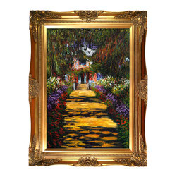 "overstockArt.com - Monet - Garden Path at Giverny Oil Painting Oil Painting - 24"" x 36"" Oil Painting On Canvas Claude Monet's Garden Path at Giverny will make you feel as if you're strolling down the artist's compound's path on a warm, sunny day. Born in Paris, Monet was the founder of French impressionism. Many of the subjects of his paintings were located here, which is where he finally settled with his family later in life. With its flowers, trees, water and other aspects of nature, Monet was able to gain much inspiration from his surroundings. Originally created in 1902, our artists have carefully recreated this masterpiece to look almost exactly like the original. Its versatile use of color and brush strokes will make this an excellent addition to any room."