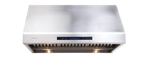 """Ariel - Cavaliere AP238-PS81 36"""" Under Cabinet Range Hood - Cavaliere Stainless Steel 360W Under Cabinet Range Hood with 4 Speeds, Timer, LCD Keypad, Stainless Steel Baffle Filters, Heat Lamps & Halogen Lights"""
