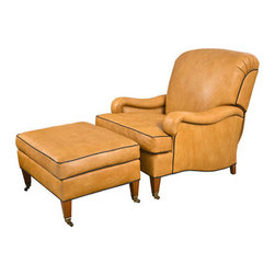 Leather Club Chair and Ottoman by Edward Ferrell - Incredibly comfortable and well made custom leather club chair and ottoman. Made by Edward Ferrell, these chairs have the ability to recline, and the workmanship is masterfull. Ottoman included. We have 6 sets available.