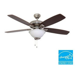 Sahara Fans - Indoor Ceiling Fans: Sahara Fans Ardmore 52 in. Energy Star Brushed Nickel Ceili - Shop for Lighting & Fans at The Home Depot. The Ardmore 52 in. indoor ceiling fan is Energy Star qualified, for energy efficiency and savings. Ideal for rooms up to 20 ft. x 20 ft., Ardmore includes a cased glass bowl light that uses 2 CFL bulbs, to provide excellent lighting. The brushed nickel finish and 5 reversible walnut/hinoki blades provide a sophisticated look.