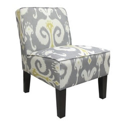 Armless Upholstered Slipper Accent Chair, Grey & Gold Ikat - This is a great gray and yellow combination. This pretty ikat fabric is a beautiful way to bring a current trend into your room. This would be stunning in a bedroom or pretty sitting space.