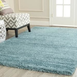 Safavieh - Safavieh Milan Shag SG180-6060 7' Round Blue Rug - Once popular in the '70's, the shag rug is back. With an irresistibly soft pile and wonderful palettes, it brings warmth to every decor.