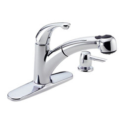 Delta - Delta 467-SD-DST Palo 1-Handle Pull-Out Kitchen Faucet w/Soap Dispenser (Chrome) - Delta 467-SD-DST Palo Collection  with smooth flowing lines adding a contemporary look to your home. The Delta 467-SD-DST is a one handle Pullout Kitchen Faucet in Chrome.